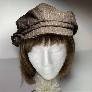Nine West Brown Tweed Pinstripe Newsboy Cap Bow